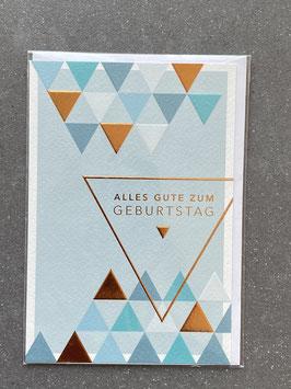 """Kupfergold Klappkarte mit Umschlag """"Alles Gute zum Geburtstag (blau)"""""""