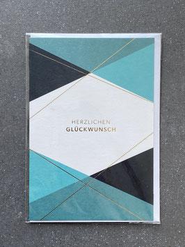 """Kupfergold Klappkarte mit Umschlag """"Herzlichen Glückwunsch (blau)"""""""