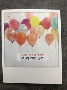 Postkarte Pickmotion Heute wird gefeiert HAPPY BIRTHDAY (Luftballons)
