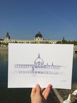 Illustration A4 Grand Hotel Dieu Iconique Paysage