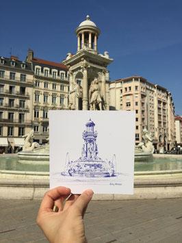 Illustration (carré 15cmx15cm)  Lyon place Jacobins