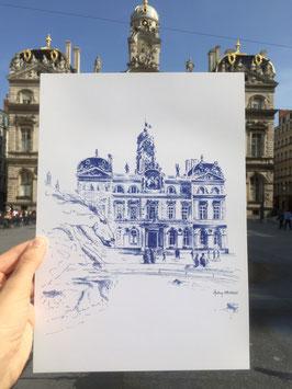 Illustration A4 Lyon Place des Terreaux