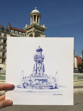 Illustration (carré 20cm x20cm)  Lyon Place Jacobins
