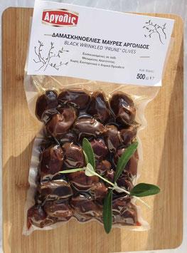 Damaskinoelies griechische schwarze Pflaumen-Oliven aus der Region Argolis, 500g