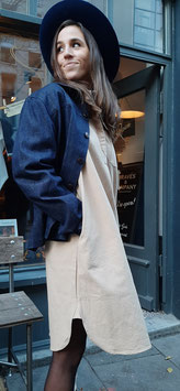 BRUNA D901 / Shirt Dress // 100% cotton, 9,25oz  / Olive green & Beige