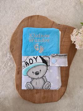 Mutterkindpasshülle *Kleines Wunder* It´s a Boy Grau/Blau