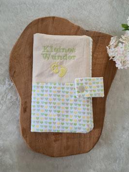 Mutterkindpasshülle *Kleines Wunder* Herz Grün/Gelb