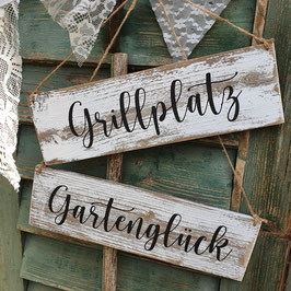 "Altholzschild ""Gartenglück"""
