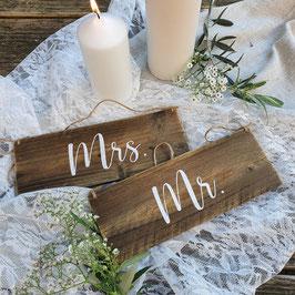"""Altholzschilder """"Mrs. & Mr."""""""