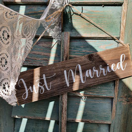 "Altholzschild ""Just married"""