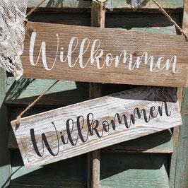 """Altholzschild """"Willkommen"""""""