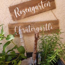 """Altholzschild """"Rosengarten"""""""