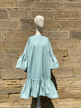 Aqua Dropped Sleeves Dress