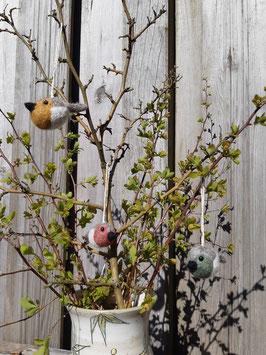 3er Set Vögel Mini aus Filz zum Aufhängen