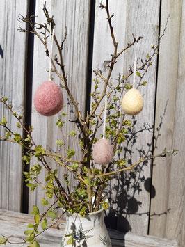 3er Set Eier groß aus Filz zum Aufhängen