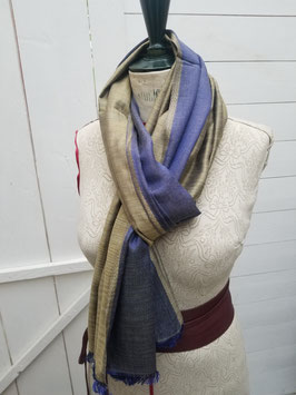 Echarpe laine et viscose bleu clair / doré