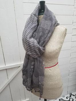 Etole coton et soie, gris et blanc (SET08)