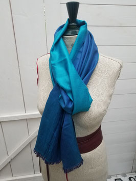 Echarpe laine et viscose bleu / turquoise