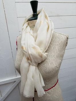 Echarpe laine fine, impression plumes dorées (SWL04)