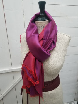 Echarpe laine et viscose fuchsia / corail