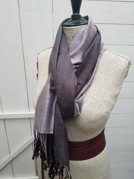 Echarpe laine et viscose parme / gris
