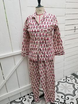Pyjama écru motifs rose