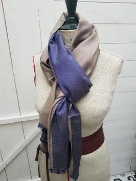 Echarpe laine et viscose bleu / mordoré