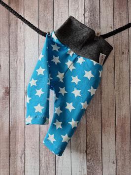 Leggings lang mit Bündchen Sterne weiss auf blau 56