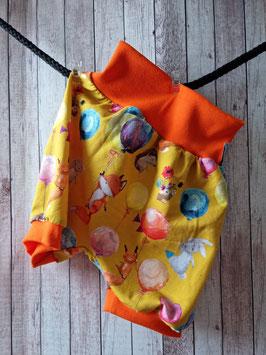 Pumphose Kurz Tiere mit Ballone gelb 110/116