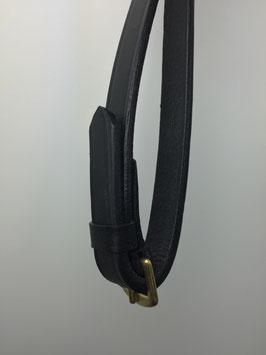 schwarze Lederzügel für Trensen mit goldfarbenen Beschlägen