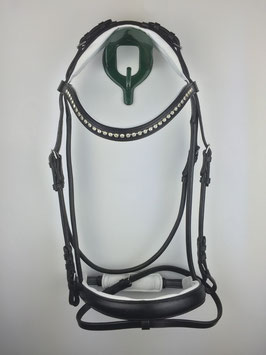 rundgenähter schwarzer ergonomisch gepolsterter Trensenzaum mit silberfarbenen Beschlägen