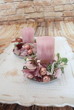 Teller mit Kerze - Rosa 1