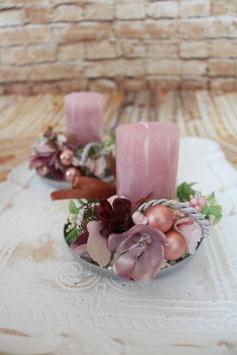 Teller mit Kerze - Rosa 2