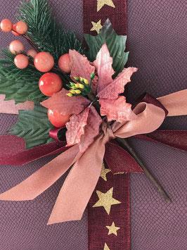 Weihnachtlicher Deko Zweig rosa/braun