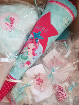 """Zucker- / Schultüte """"Luana"""" - aufwendig gestaltet, türkis- und pinkfarben mit großer Meerjungfrau"""