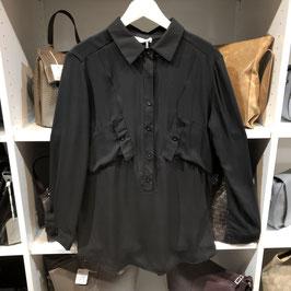 Schwarze Bluse mit Rüschen in einer Einheitsgröße (ca. Gr. S/M)