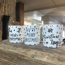 Teelichthalter mit Christmas-Print in 3 Versionen