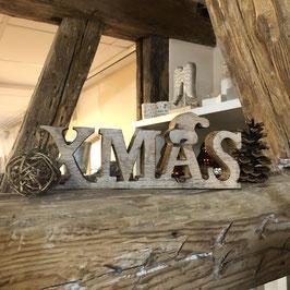 Schriftzug X-MAS Holz