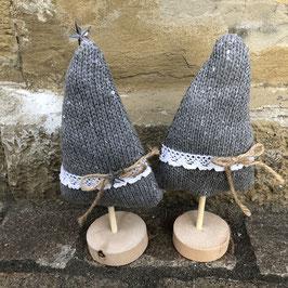 Weihnachtsbäumchen Holz / graue Wolle