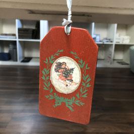 Geschenkanhänger Holz rot