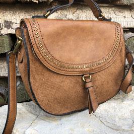 Halbrunde Kunstledertasche von ZaZas mit Kurzgriff und Gurt zum Schultern - Hellbraun