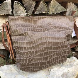 Taupe-braune Tasche mit Animal-Prägung und braunem Griff