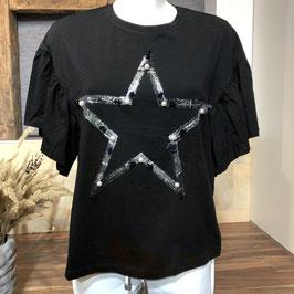 Schwarzes Shirt mit Stern-Applikation