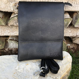 Rechteckige Handtasche zum Umhängen mit Überschlag in Schwarz - Strukturiert