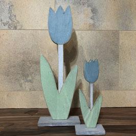 Deko-Blumen aus Holz in Grün-Blau in 2 Größen