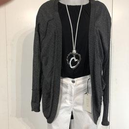 Silbergraue feine Jacke mit Schleife hinten in Größe S/M
