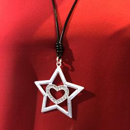 Silberner Stern mit glitzerndem Herz an einem schwarzen langen Band