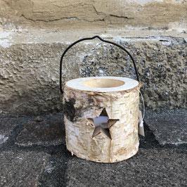 Teelichthalter Holz rund mit Drahtbügel und ausgesägtem Stern