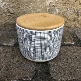 Vorratsdose schwarz/weiß kariert mit Bambus-Deckel