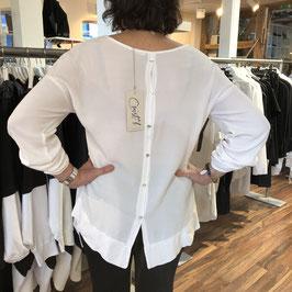 Leichte weiße Bluse mit Knopfleiste am Rücken in Größe 38/40